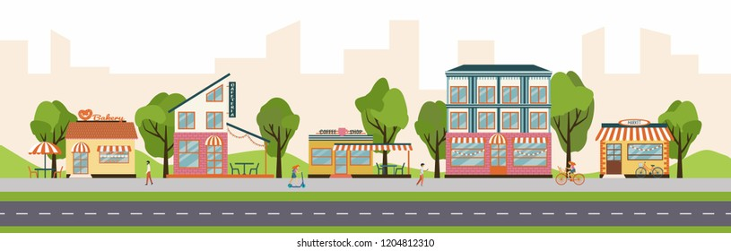 Urban street with different shops and stores, including bakery, coffee shop, restaurant, market. Vector illustration of strip mall shopping center.