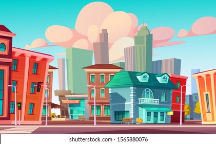 Urban street landscape with retro residential buildings with cafe and beauty salon, cartoon vector. Cityscape with crosswalk and traffic light against background of skyscrapers and blue sky with cloud