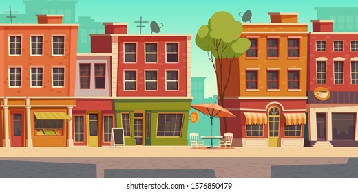 Urban street landscape with small shops and residential buildings, cartoon vector background. Cityscape with pavement, facades of cafes, restaurant and bakeries, town poster