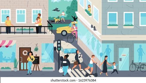 Urban street scene, people living in city, vector illustration. Cartoon characters crossing street, walking and riding. Residential neighborhood of metropolis. People urban lifestyle in modern city