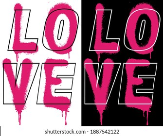 Urban street style love slogan print with neon graffiti font - Hipster graphic vector pattern for tee - t shirt and sweatshirt