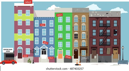 Urban street view with renovated condo developments supersede old deteriorated neighbourhood in a process of gentrification, EPS 8 vector illustration