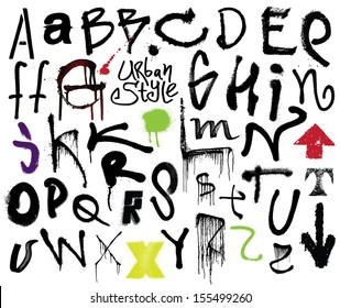 Urban style. Graffiti style alphabet.