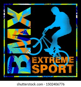 Urban style modern t-shirt  with boy on bicycle BMX. Sport extreme style  illustraton for guys.