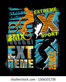 Urban style modern t-shirt  with boy on bicycle BMX and skateboards. Sport extreme style illustraton for guys.
