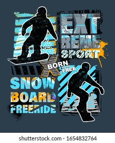 Urban style modern t-shirt with boy on snowboards. Sport extreme style illustraton for guys.