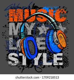 Urban style modern t-shirt with  headphones and graffiti. Grunge style illustraton for guys.