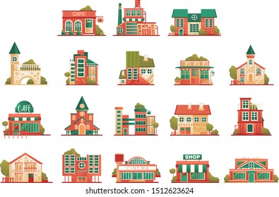 Urban and suburban buildings facade set, brick private houses and municipal public buildings vector Illustrations on a white background