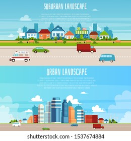 Urban and suburban landscape banner set - modern flat cartoon cityscape of big city and small village with street traffic and green park, vector illustration