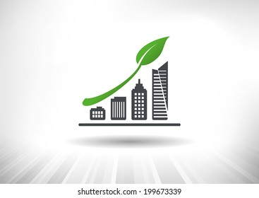 Urban Sustainable Green Growth. Concept showing rising city skyline bar chart with green leaf as arrow. Background and graph layered for easy customization. Fully scalable vector illustration.