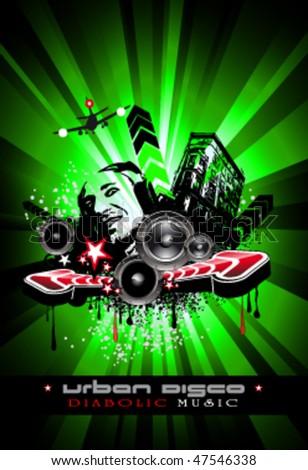Urban Techno Music Event Background Crazy Stock Vektorgrafik