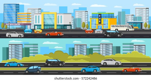 Urban traffic horizontal banners with different colorful automobiles on road and modern cityscape vector illustration