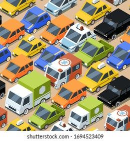 Urban traffic pattern. Jammed city transport cars buses van vector seamless background for textile design projects