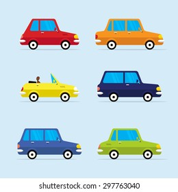 Urban Traffic Vehicles Cars Icons Set in a Flat Design