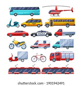 Urban transport set. Public transportable vehicle cars transport: trolleybus, scooter, bus, bicycle, ambulance fire-engine and police car, school bus, rescue service tram police motorcycle vector