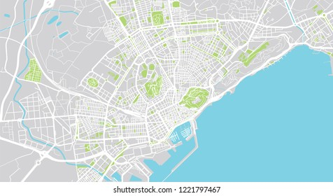 Urban vector city map of Alicante, Spain