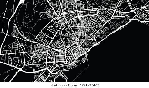 Urban vector city map of Alicante, Spain