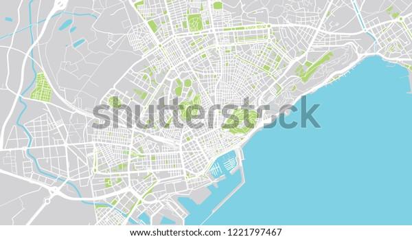 Alicante Map Of Spain.Urban Vector City Map Alicante Spain Stock Vector Royalty Free