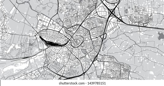Urban vector city map of Amersfoort, The Netherlands