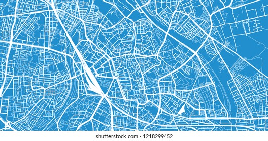 Urban vector city map of Augsburg, Germany