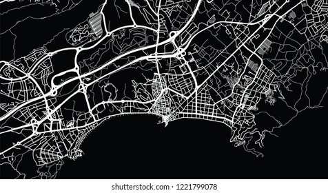 Urban vector city map of Benidorm, Spain