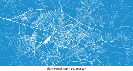 Urban vector city map of Bialystok, Poland