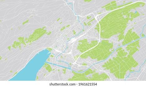 Urban vector city map of Biel Bienne, Switzerland, Europe