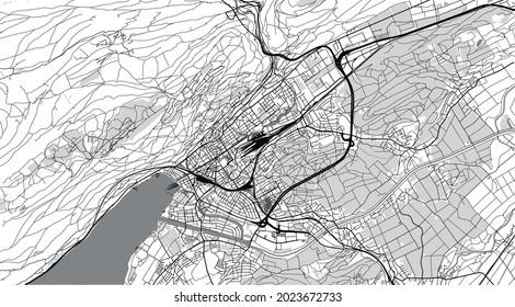 Urban vector city map of biel, Switzerland, Europe