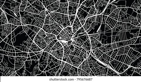 Urban vector city map of Birmingham, England