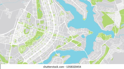 Urban vector city map of Brasilia, Brazil