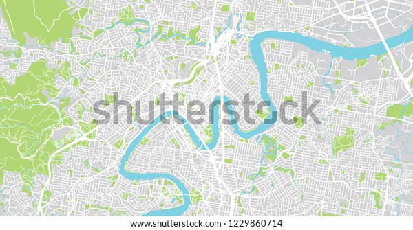 Map Of Brisbane Australia.Urban Vector City Map Brisbane Australia Stock Vector Royalty Free