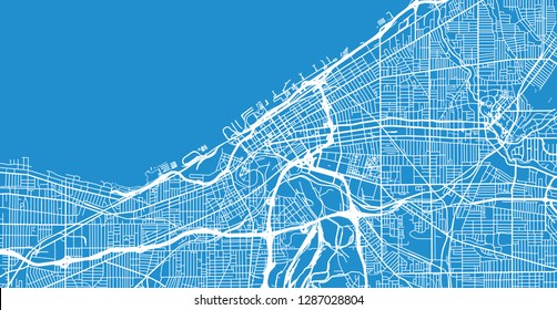 Urban vector city map of Cleveland, Ohio, United States of America