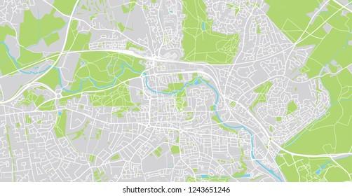 Urban vector city map of Colchester, England