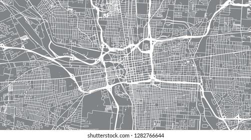 Urban vector city map of Colombus, Ohio, United States of America