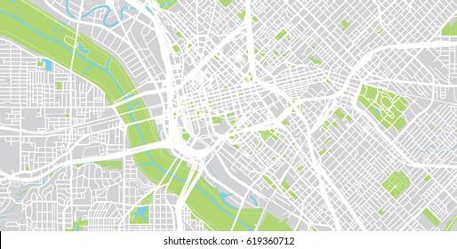 Urban vector city map of Dallas, USA