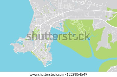 Urban Vector City Map Darwin Australia Stock Vector Royalty Free