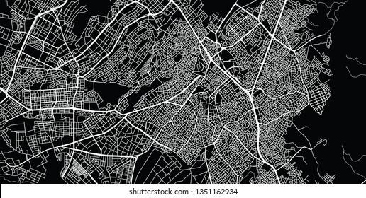 Urban vector city map of Denizli, Turkey