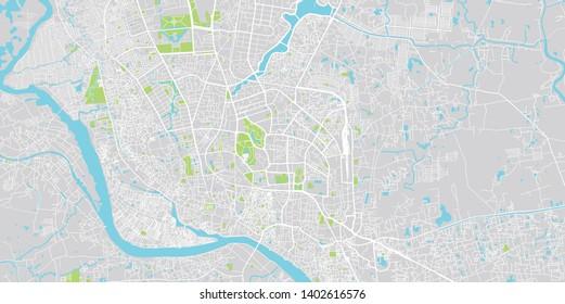 Urban vector city map of Dhaka, Bangladesh