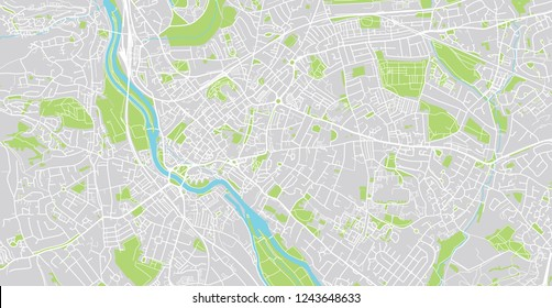 Urban vector city map of Exeter, England