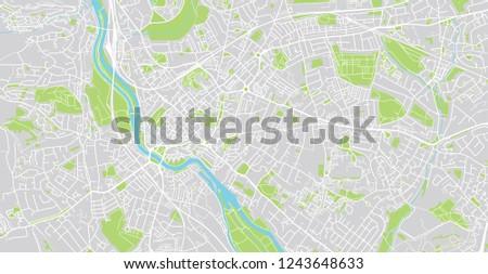 Urban Vector City Map Exeter England Stock Vector Royalty Free