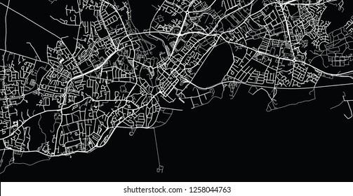 Urban vector city map of Galway, Ireland