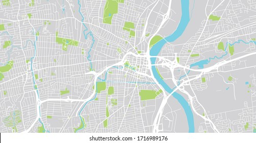 Urban vector city map of Hartford, USA. Connecticut state capital