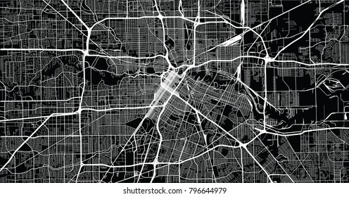 Urban vector city map of Houston, Texas, USA