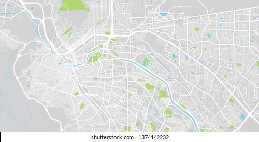 Urban vector city map of Juarez, Mexico