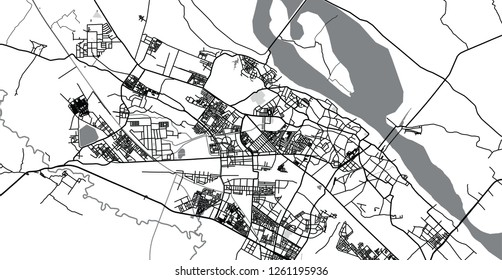 Urban vector city map of Kanpur, India
