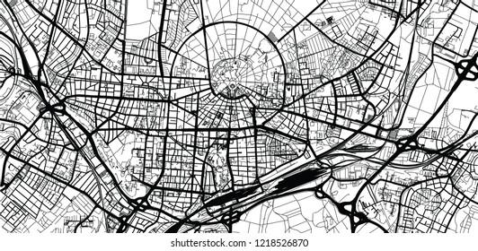 Urban vector city map of Karlsruhe, Germany