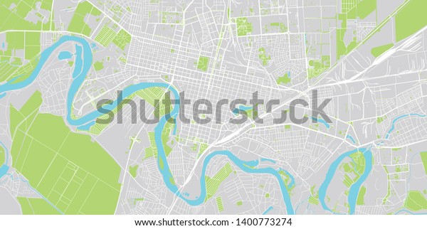 Urban Vector City Map Krasnodar Russia Stock Vector Royalty Free 1400773274