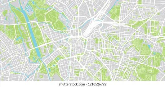 Urban vector city map of Leipzig, Germany