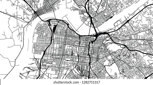Urban vector city map of Louisville, Kentucky, United States of America