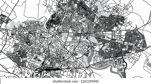Urban vector city map of Lucknow, India